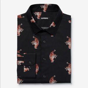 Expreas Slim Tiger Print Dress Shirt In Season